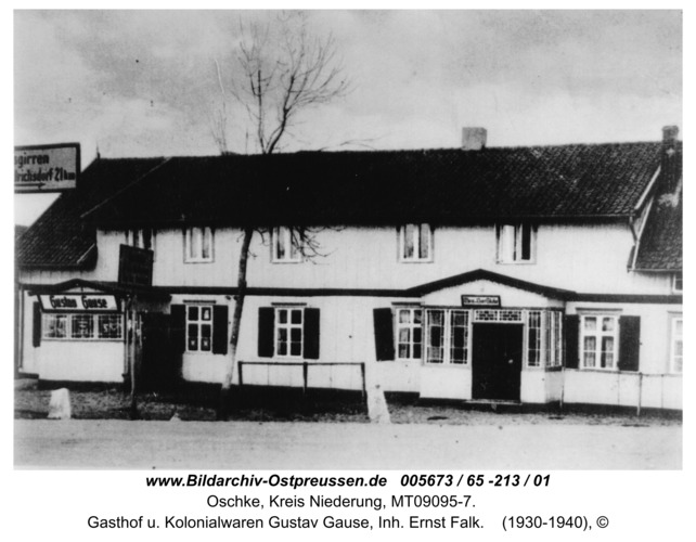 Wildwiese / Oschke, Gasthof u. Kolonialwaren Gustav Gause, Inh. Ernst Falk