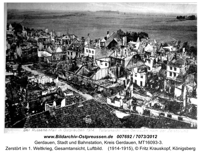 Gerdauen, zerstört im 1. Weltkrieg, Gesamtansicht, Luftbild