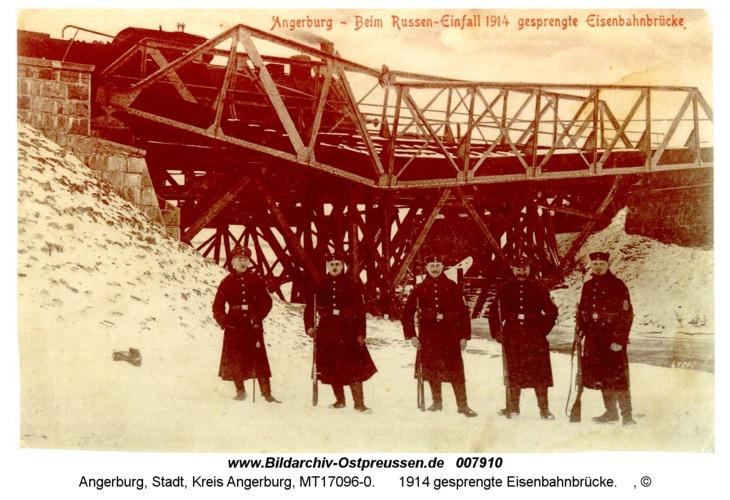 Angerburg 16, 1914 gesprengte Eisenbahnbrücke