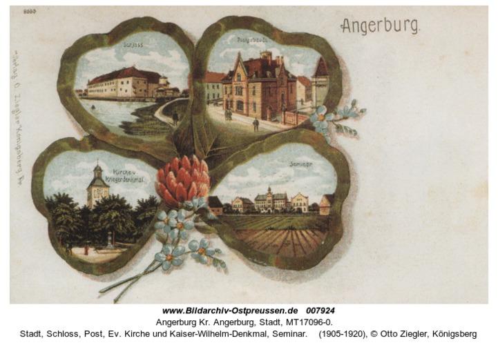 Angerburg, Stadt, Schloss, Post, Ev. Kirche und Kaiser-Wilhelm-Denkmal, Seminar