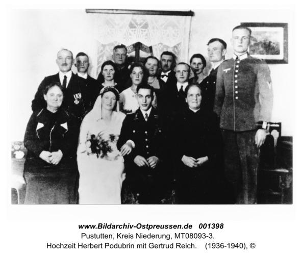Pustutten, Hochzeit Herbert Podubrin mit Gertrud Reich