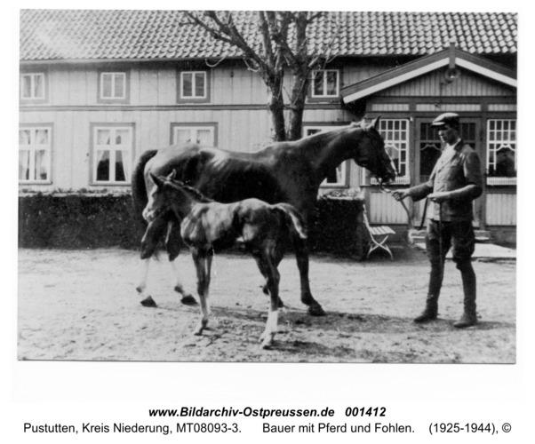 Pustutten, Bauer mit Pferd und Fohlen