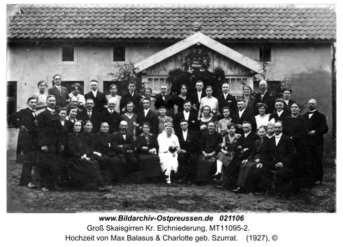 Groß Skaisgirren Kr. Elchniederung, Hochzeit von Max Balasus & Charlotte geb. Szurrat