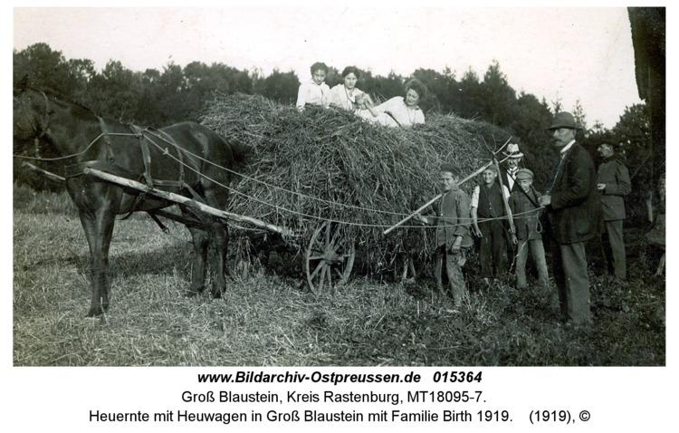 Heuernte mit Heuwagen in Groß Blaustein mit Familie Birth 1919