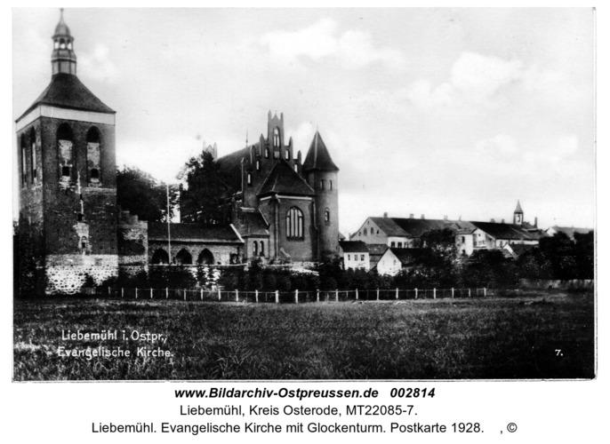 Liebemühl. Evangelische Kirche mit Glockenturm. Postkarte 1928