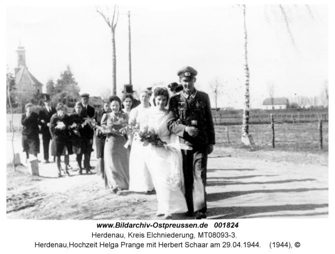 Herdenau, Hochzeit Helga Prange mit Herbert Schaar am 29.04.1944