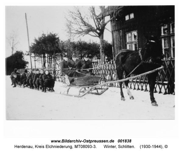 Herdenau, Winter, Schlitten