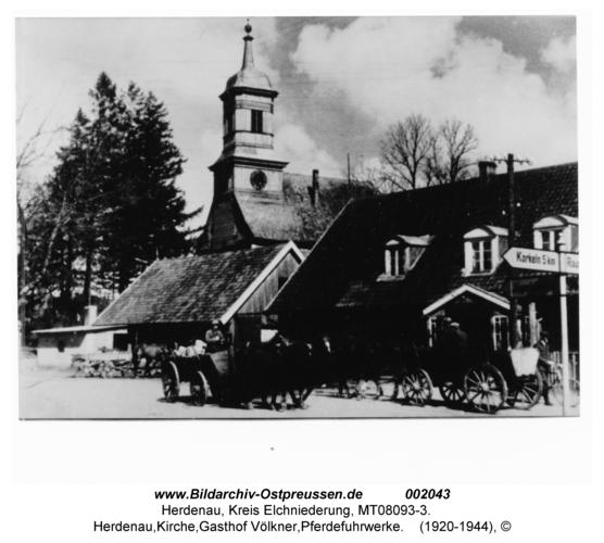 Herdenau, Kirche, Gasthof Völkner, Pferdefuhrwerke