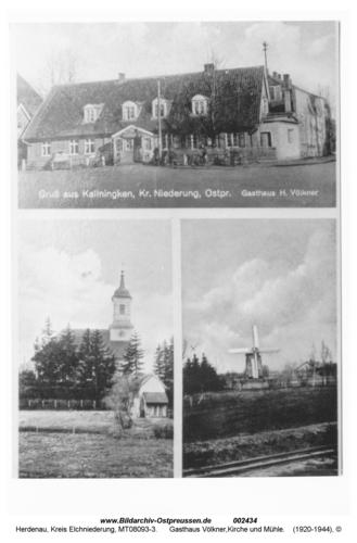 Herdenau, Poskarte mit 3 Motiven, Gasthaus Völkner, Kirche und Mühle