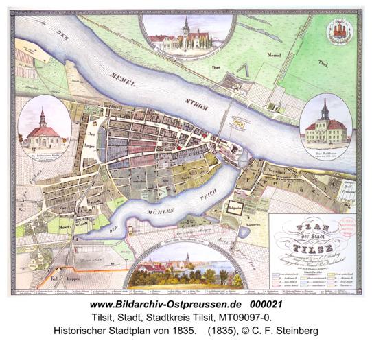 Tilsit, Historischer Stadtplan von 1835