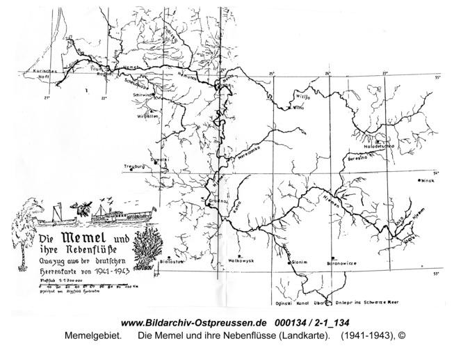 Die Memel und ihre Nebenflüsse (Landkarte)