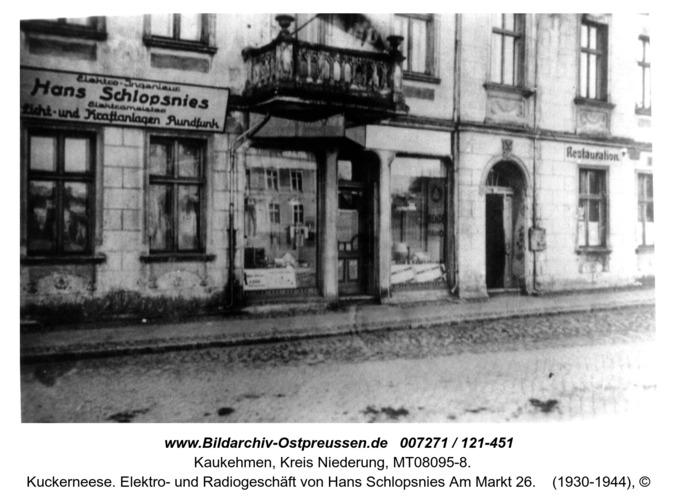 Kuckerneese. Elektro- und Radiogeschäft von Hans Schlopsnies Am Markt 26