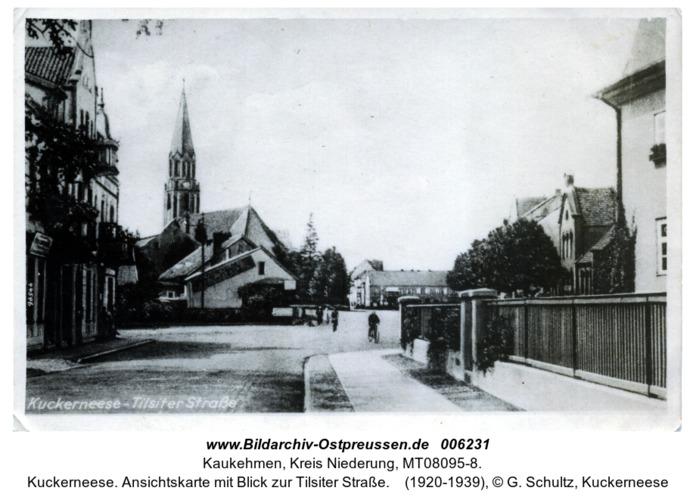 Kuckerneese. Ansichtskarte mit Blick zur Tilsiter Straße