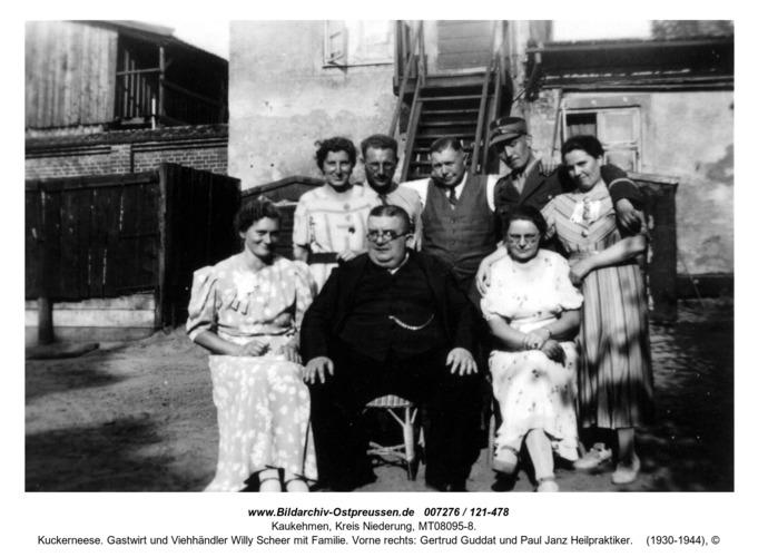 Kuckerneese. Gastwirt und Viehhändler Willy Scheer mit Familie. Vorne rechts: Gertrud Guddat und Paul Janz Heilpraktiker