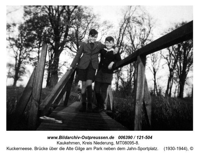 Kuckerneese. Brücke über die Alte Gilge am Park neben dem Jahn-Sportplatz