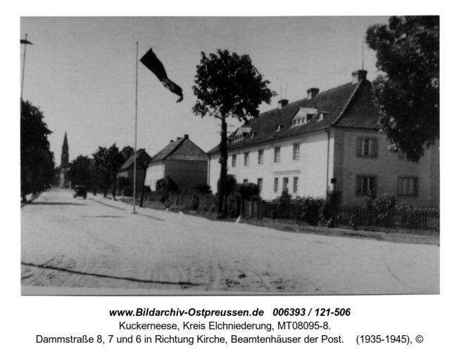 Kuckerneese, Dammstraße 8, 7 und 6 in Richtung Kirche, Beamtenhäuser der Post