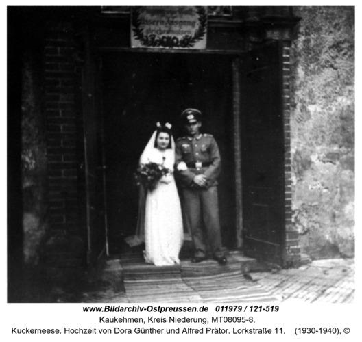 Kuckerneese. Hochzeit von Dora Günther und Alfred Prätor. Lorkstraße 11