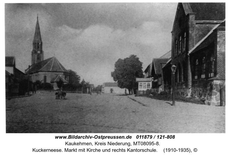 Kuckerneese. Markt mit Kirche und rechts Kantorschule