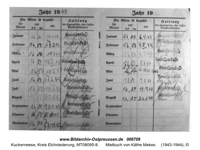 Kuckerneese. Alte Siedlungsstraße 3, Mietbuch von Käthe Mekes