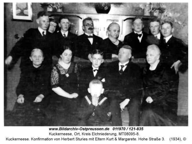 Kuckerneese. Konfirmation von Herbert Sturies mit Eltern Kurt & Margarete. Hohe Straße 3