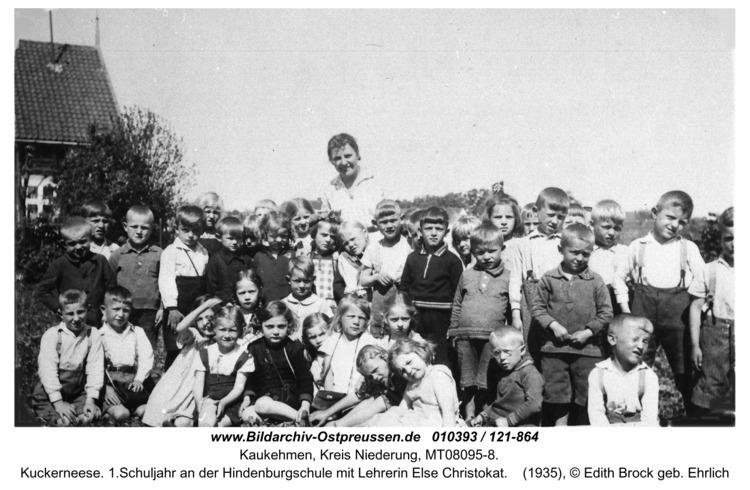 Kuckerneese. 1.Schuljahr an der Hindenburgschule mit Lehrerin Else Christokat