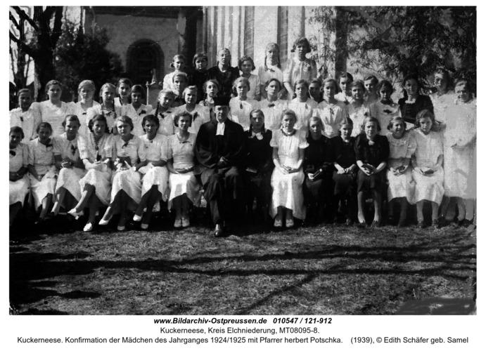 Kuckerneese. Konfirmation der Mädchen des Jahrganges 1924/1925 mit Pfarrer herbert Potschka