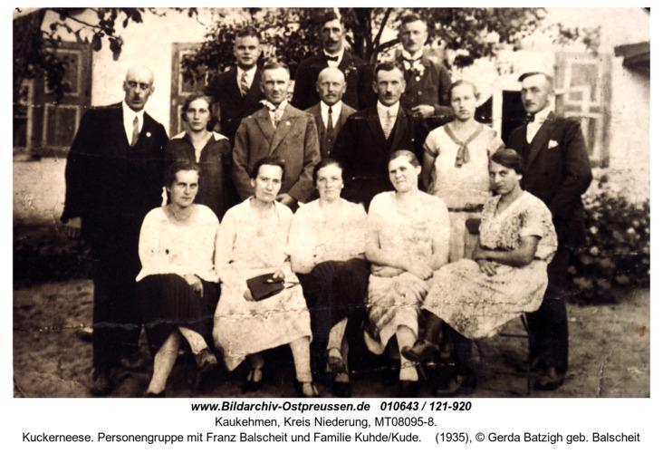 Kuckerneese. Personengruppe mit Franz Balscheit und Familie Kuhde/Kude