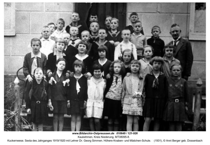 Kuckerneese. Sexta des Jahrganges 1919/1920 mit Lehrer Dr. Georg Simmen. Höhere Knaben- und Mädchen-Schule