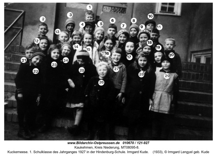 Kuckerneese. 1. Schulklasse des Jahrganges 1927 in der Hindenburg-Schule. Irmgard Kude