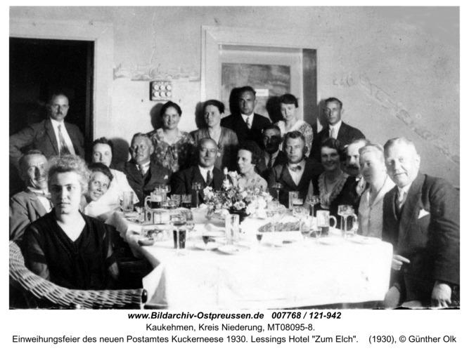 """Einweihungsfeier des neuen Postamtes Kuckerneese 1930. Lessings Hotel """"Zum Elch"""""""