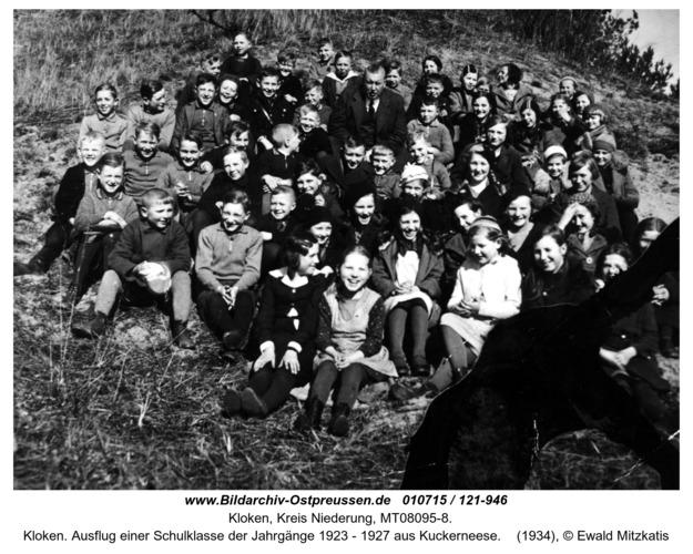 Kloken. Ausflug einer Schulklasse der Jahrgänge 1923 - 1927 aus Kuckerneese