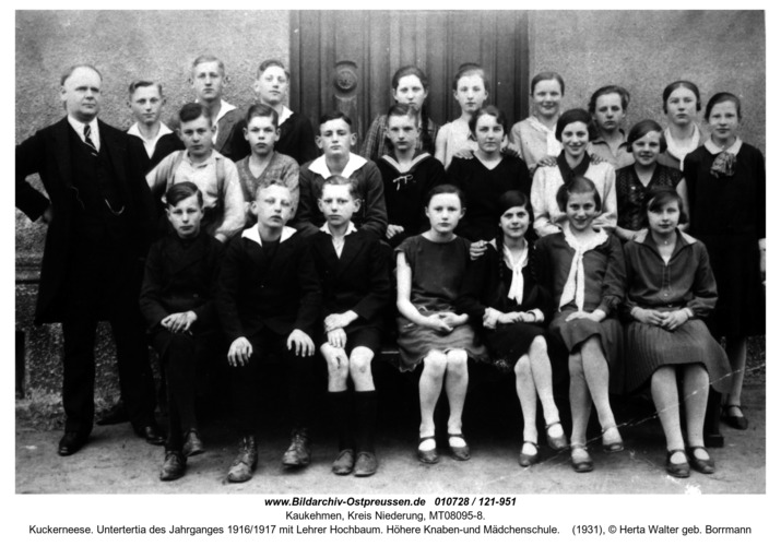 Kuckerneese. Untertertia des Jahrganges 1916/1917 mit Lehrer Hochbaum. Höhere Knaben-und Mädchenschule