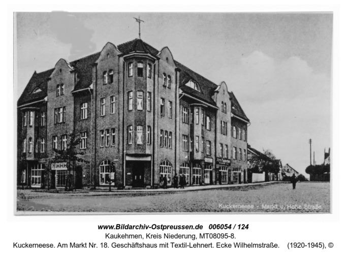 Kuckerneese. Am Markt Nr. 18. Geschäftshaus mit Textil-Lehnert. Ecke Wilhelmstraße