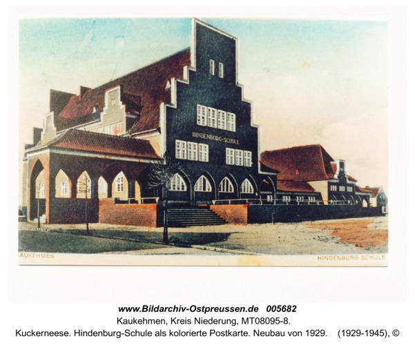 Kuckerneese. Hindenburg-Schule als kolorierte Postkarte. Neubau von 1929