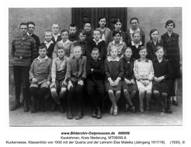 Kuckerneese. Klassenfoto von 1930 mit der Quarta und der Lehrerin Else Maleika (Jahrgang 1917/18)