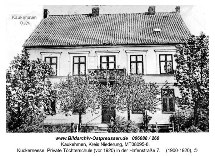 Kuckerneese. Private Töchterschule (vor 1920) in der Hafenstraße 7