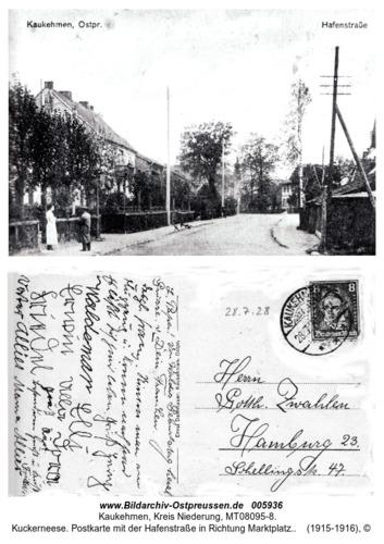 Kuckerneese. Postkarte mit der Hafenstraße in Richtung Marktplatz.