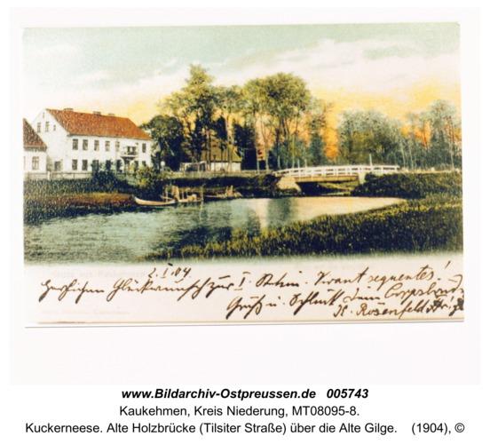 Kuckerneese. Alte Holzbrücke (Tilsiter Straße) über die Alte Gilge