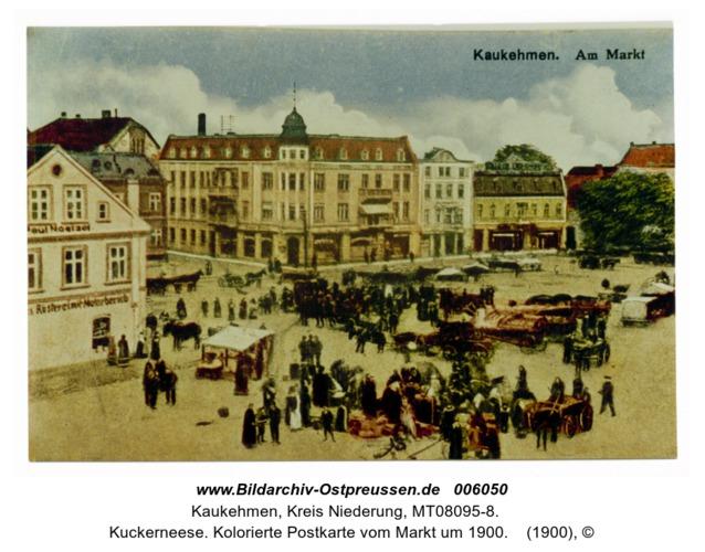 Kuckerneese. Kolorierte Postkarte vom Markt um 1900