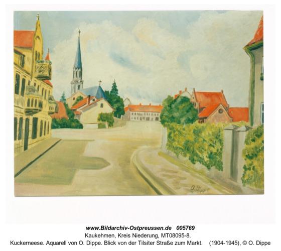 Kuckerneese. Aquarell von O. Dippe. Blick von der Tilsiter Straße zum Markt