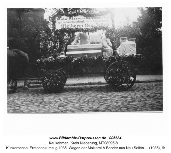 Kuckerneese. Erntedankumzug 1935. Wagen der Molkerei A.Bender aus Neu Sellen