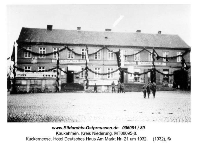Kuckerneese. Hotel Deutsches Haus Am Markt Nr. 21 um 1932