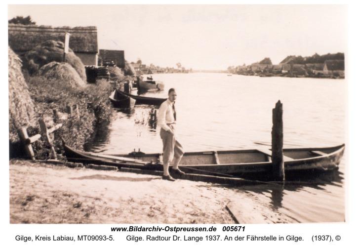 Gilge. Radtour Dr. Lange 1937. An der Fährstelle in Gilge