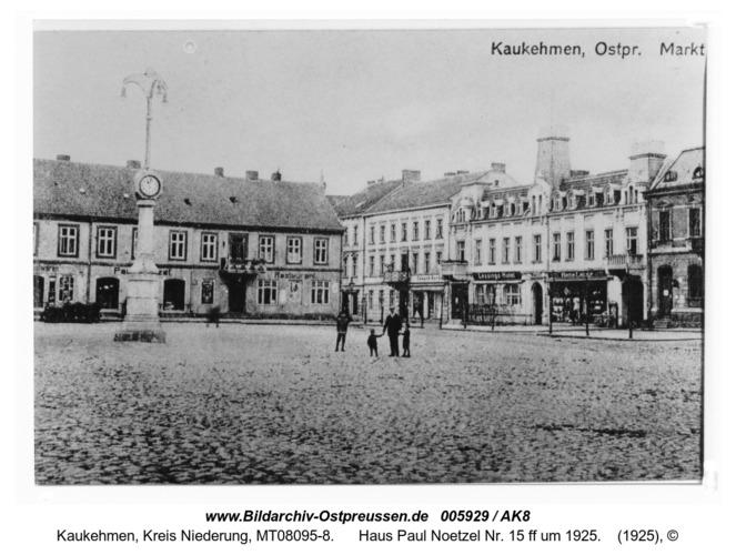 Kuckerneese. Am Markt mit Kandelaber, Haus Paul Noetzel Nr. 15 ff um 1925