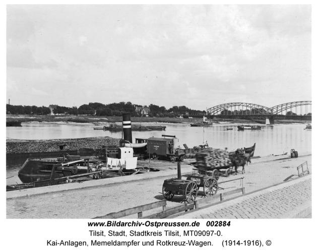 Tilsit, Kai-Anlagen, Memeldampfer und Rotkreuz-Wagen