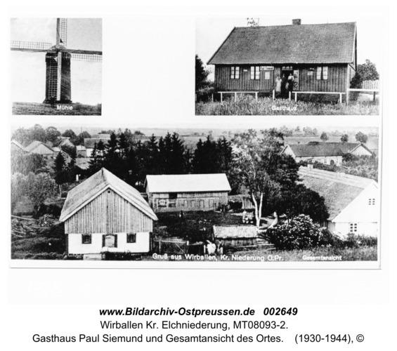 Warten (Wirballen). Motive: Mühle, Gasthaus Paul Siemund und Gesamtansicht des Ortes