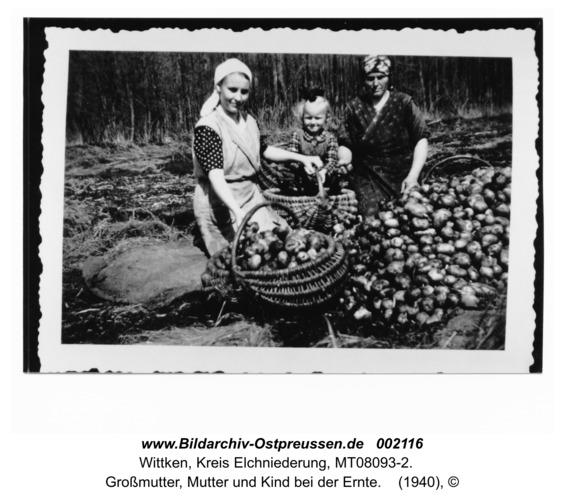 Wittken, Großmutter, Mutter und Kind bei der Ernte